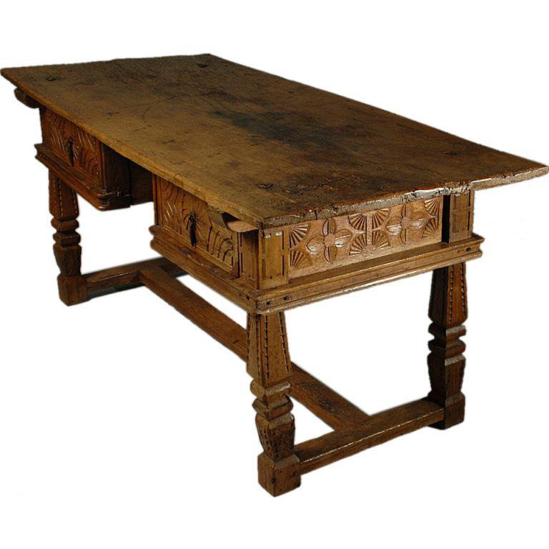 Rare 17th Century Spanish Chestnut Knee Hole Desk Table