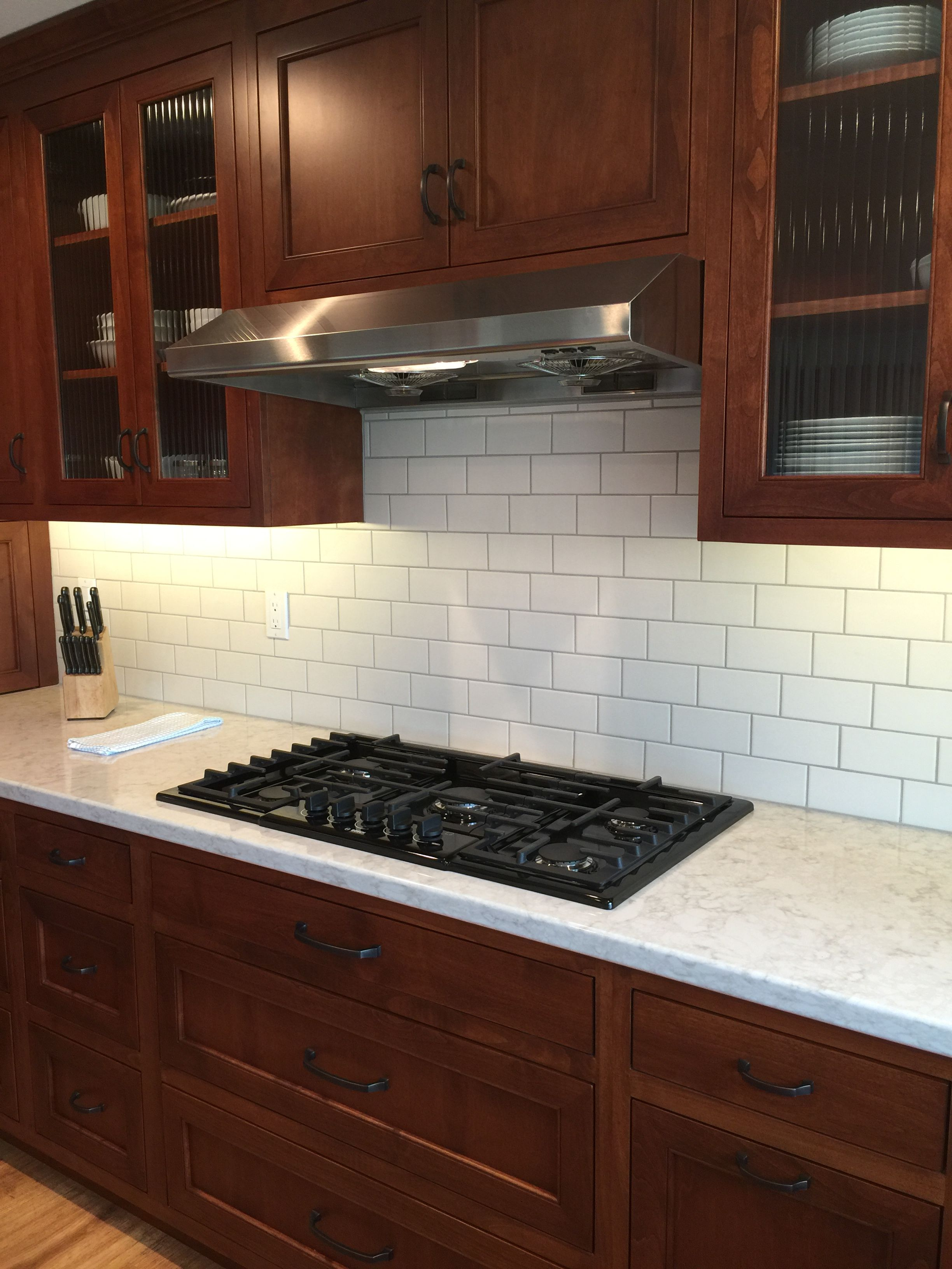 Subway Tile With 1 3 Offset Cherry Cabinets Kitchen Kitchen Backsplash Designs Easy Kitchen Backsplash