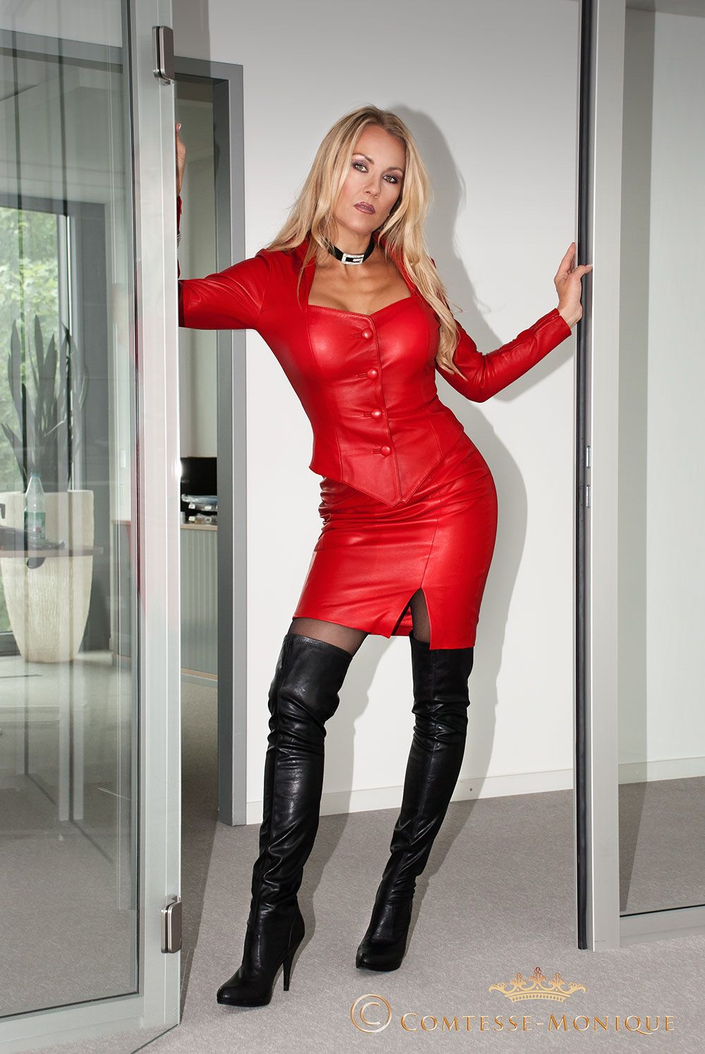 ComtesseMonique red leather skirt suit in the office