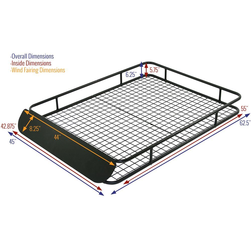 Apex Extra Large Steel Roof Cargo Basket With Wind Fairing 62 1 2 Roof Roof Rack Metal Roof