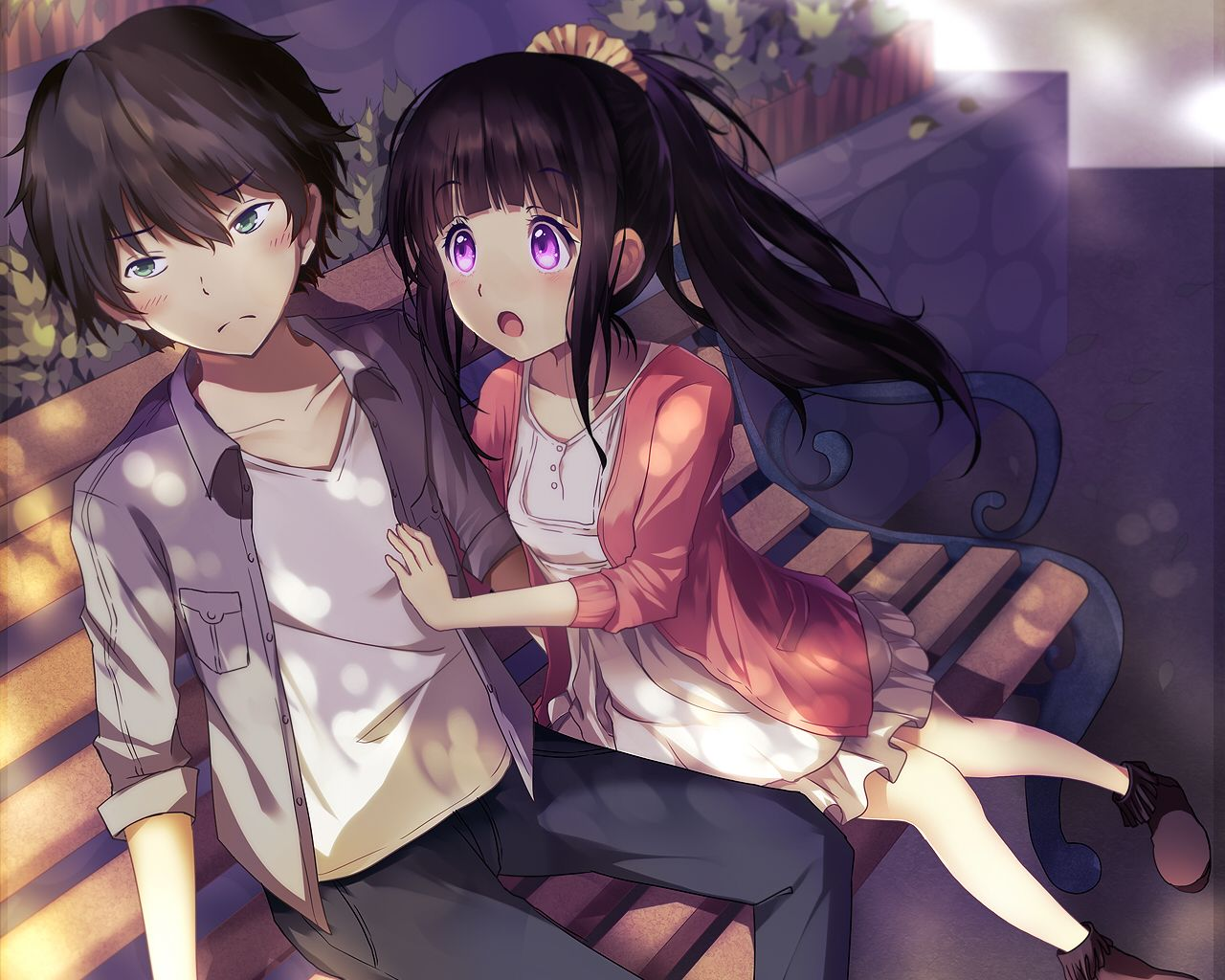 Aliasing Aqua Eyes Bisonbison Brown Hair Chitanda Eru Cropped Dress Hyouka Male Oreki Houtarou Park Ponytail Purple Eyes Animasi Karakter Animasi Gambar Anime