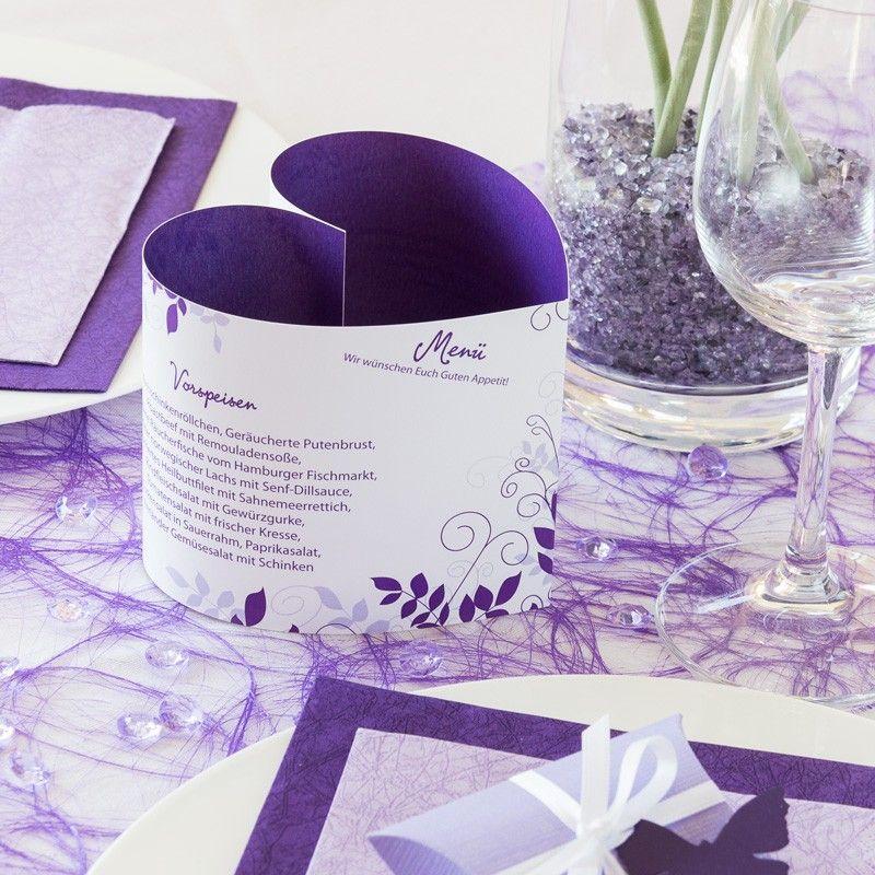 Menükarte Herzform lila Ranken online selbst gestalten
