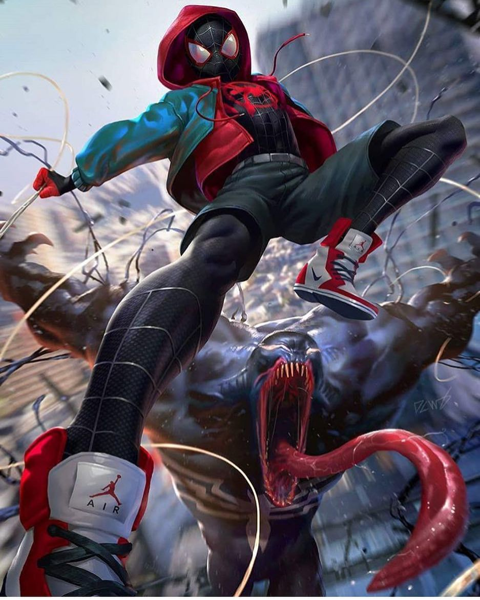 miles and venom team up artist @dcwj www.gymheroics #ironman