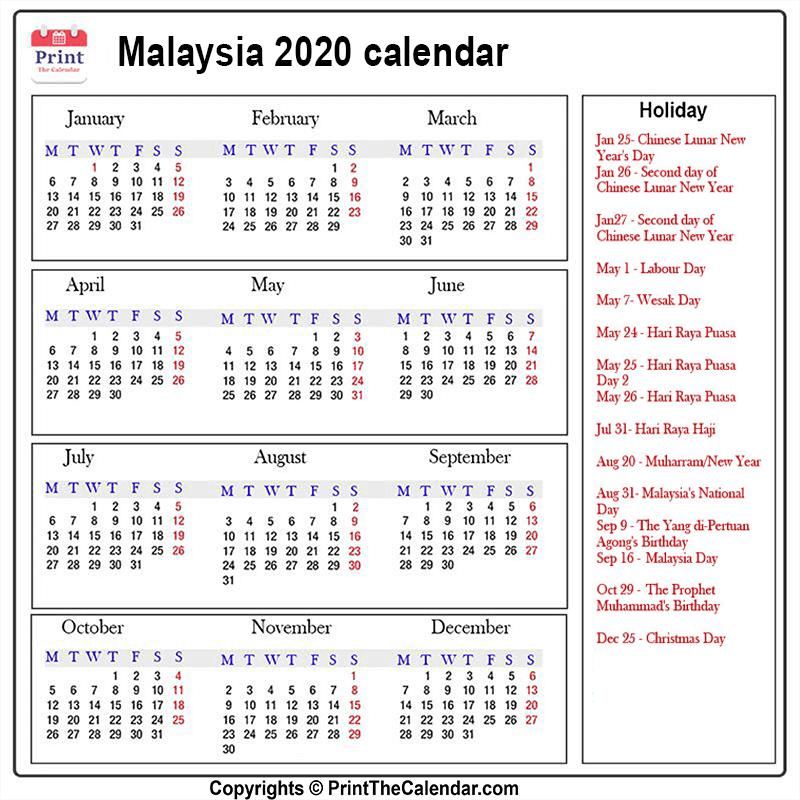 Calendar 2020 Malaysia Malaysia Printable Calendar In 2020 Holiday Calendar Calendar 2020 Calendar