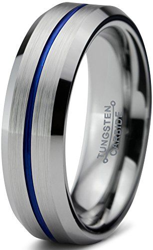 Chroma Color Collection Tungsten Carbide Wedding Band Ring 6mm for Men Women Green Red Blue Purple Black Copper Fuchsia Teal Center Line Beveled Edge Brushed Polished