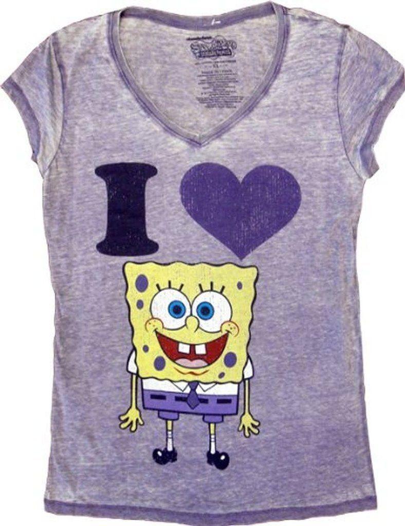 Spongebob SquarePants I Love Heart Spongebob V-Neck T-shirt - L