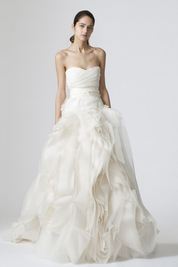 Ivory strapless organza sweetheart gown with tulle draped bodice ...