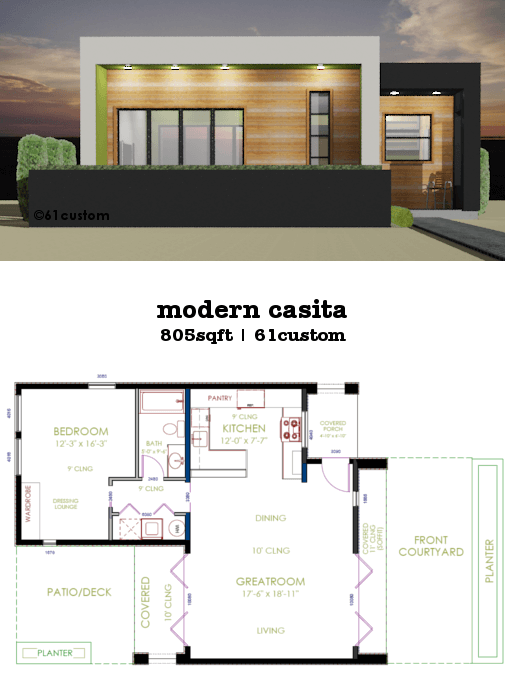 This 805sqft 1 bedroom 1 bath modern house plan works great for downsizing as a vacation home small house plan casita pool house or guest house