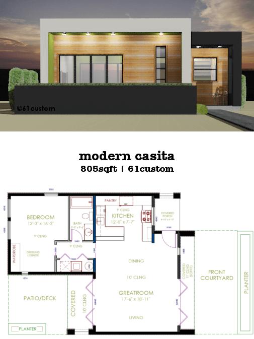 Casita Plan Small Modern House Plan 61custom Contemporary Modern House Plans Small Modern House Plans Minecraft Small Modern House Guest House Plans