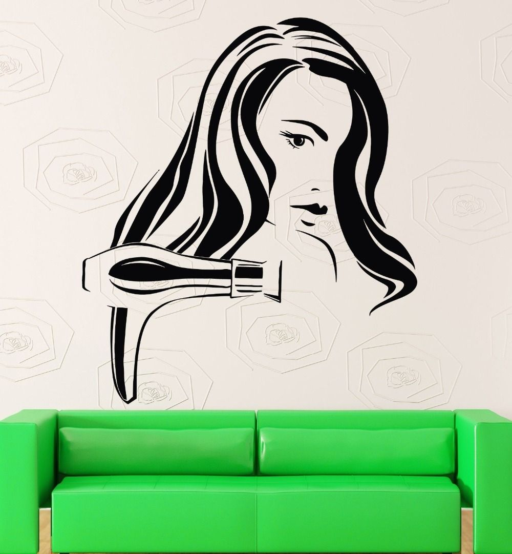 Hair wall stickers gun sexy woman barber salon tools hairdryer decal