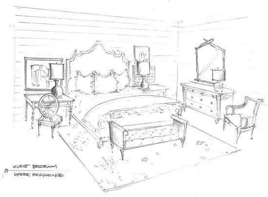 Pencil Sketch Art Master Bedroom Concept design visual By