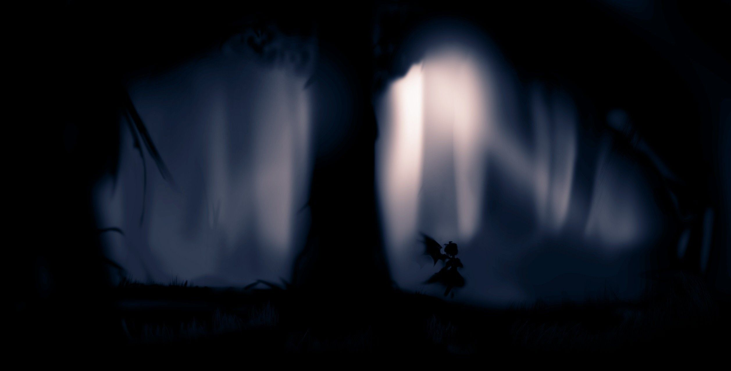 Black trees dark forest silhouette mystia lorelei (2514x1277, trees, dark, forest, silhouette)  via www.allwallpaper.in