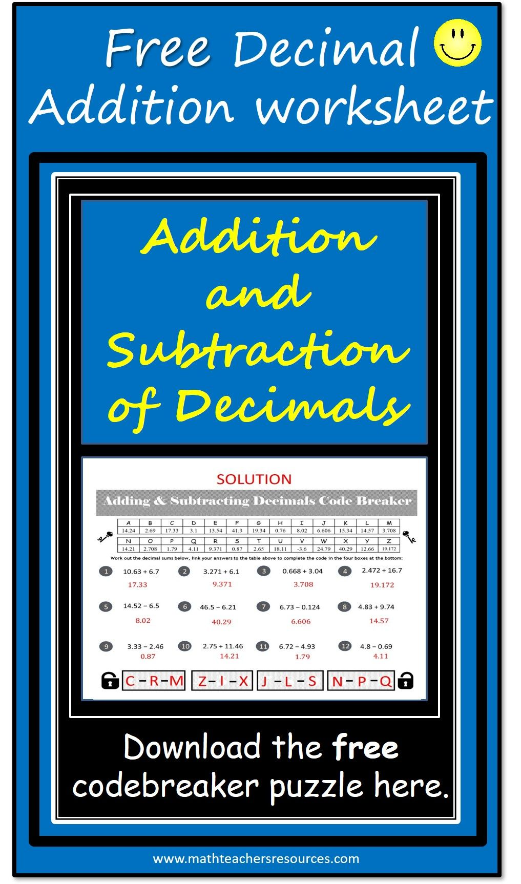 Addition and Subtraction of Decimals game FREE Make