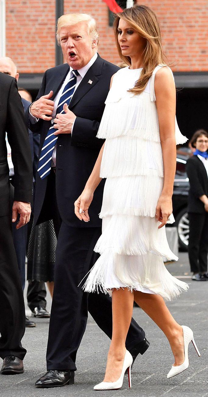 Melania Trump Dazzles In Flapper Style Fringe Dress Python Pumps At G20 Concert Dresses White Fringe Dress Fringe Dress