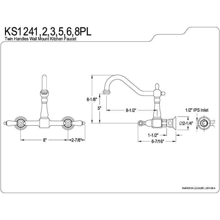 Kingston Porcelain Lever Hdl Polished Brass Wall Mount Kitchen Faucet Ks1242pl Wall Mount Kitchen Faucet Kitchen Faucet Faucet