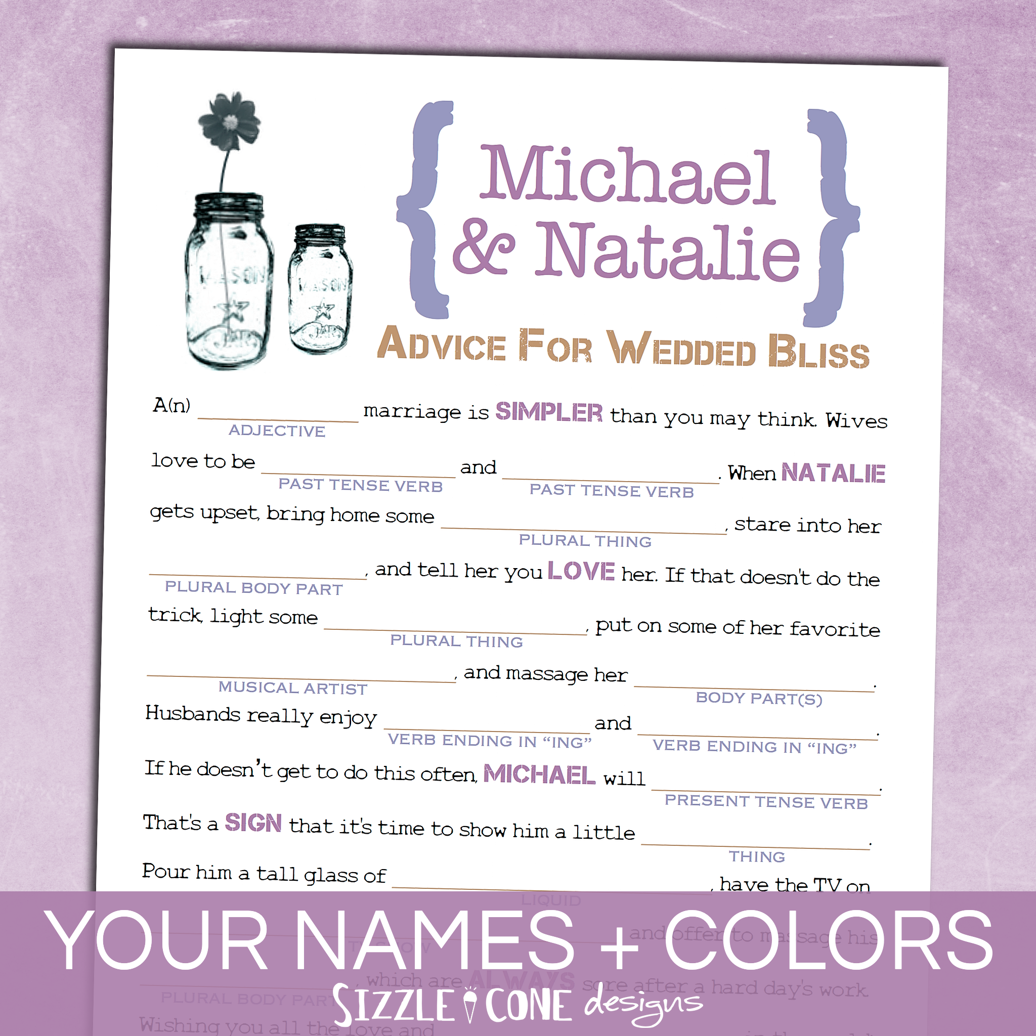 Mason Jar Wedding Mad Lib Guest Book - Marriage Advice Cards ...
