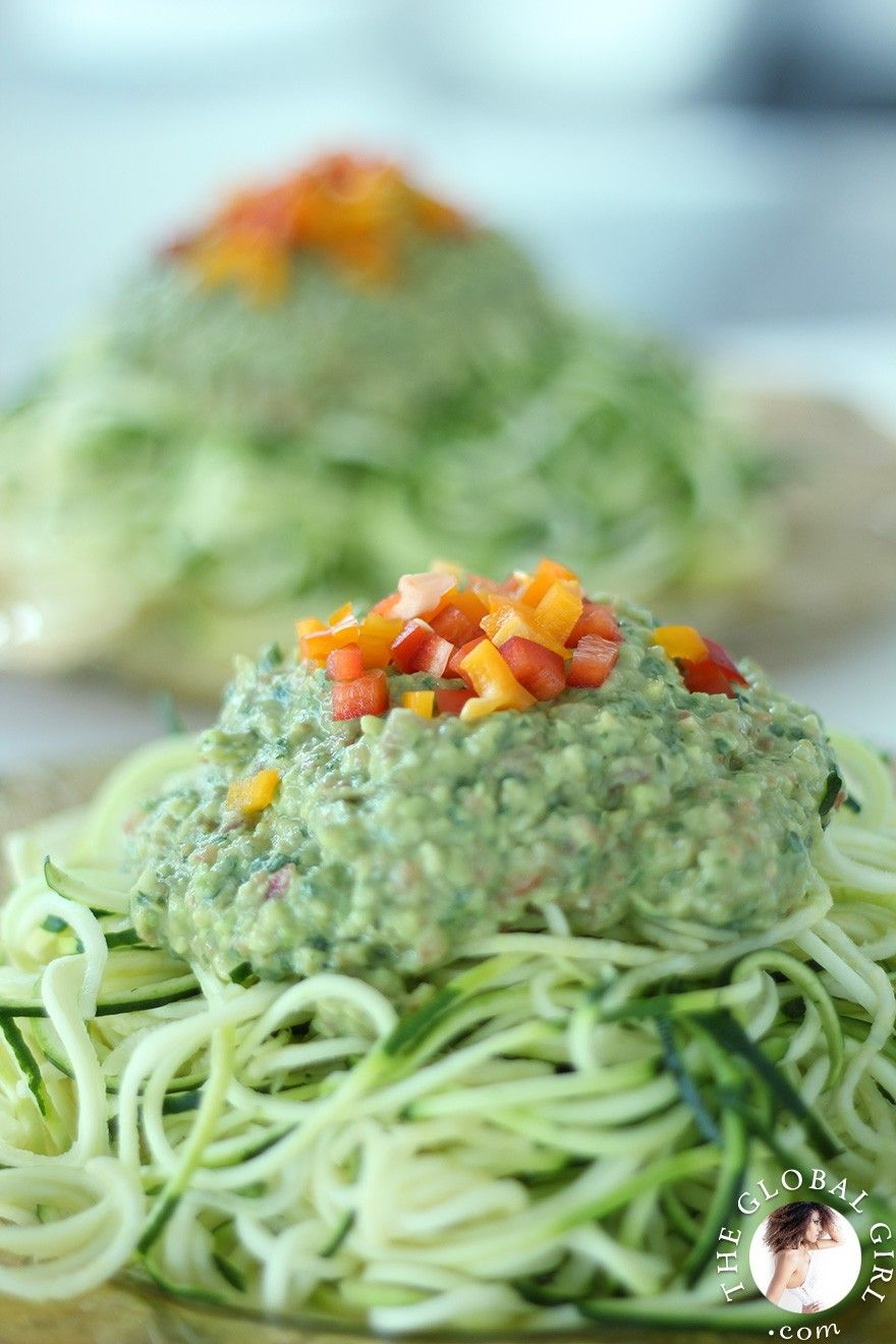 Raw vegan avocado basil sauce with zucchini noodles receta recetas forumfinder Gallery