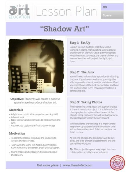 Creating Shadow Art Free Lesson Plan Download  Shadow Art Pdf