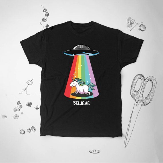 cc0f1367ff747 X-files Shirt I Want To Believe Tshirt Unicorn Funny Shirt UFO T Shirt  Alien T-shirt Mens Tee Shirt