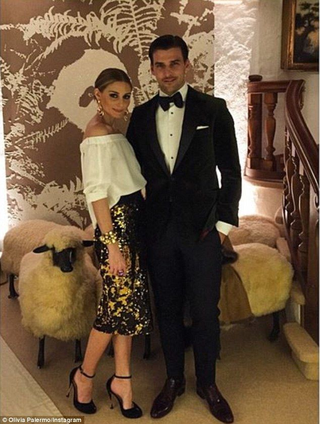 Well heeled: SocialiteOlivia Palermo and her husbandJohannes Huebl also opted for a Euro... #silvesteroutfitdamen