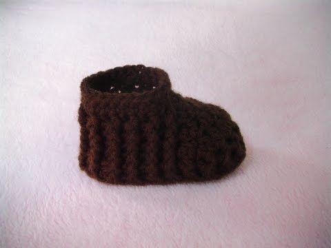 a1cb5acbe3ba Πλεκτο Μποτακι με την Πλεξη Ριπ για Ποδαρακια   Crochet Baby Bootie  Tutorial - YouTube