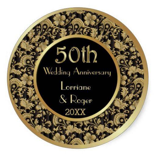 Gold Floral Elegance 50th Wedding Anniversary Classic Round Sticker