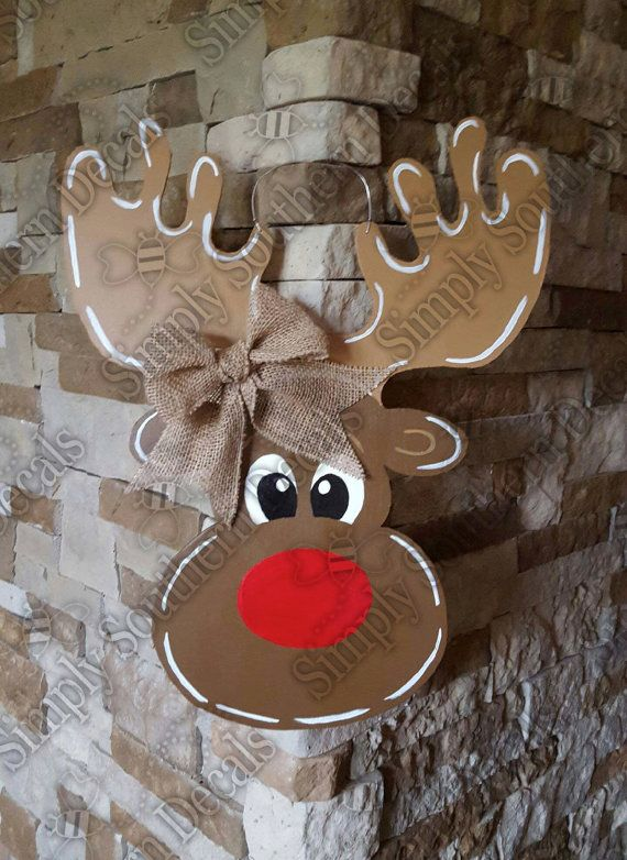 Reindeer Door Hanger by SimplySouthernDecals on Etsy ...