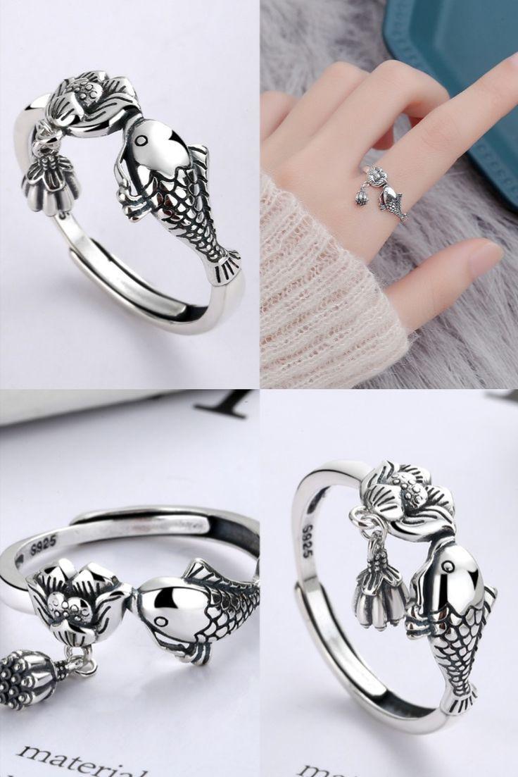 Retro Fish Kiss Lotus Tassel Pandent Adjustable Size Open Ring For Women Animal Rings