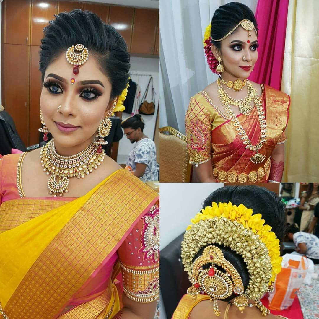 what a beautiful large low bun with real flower gajra & juda