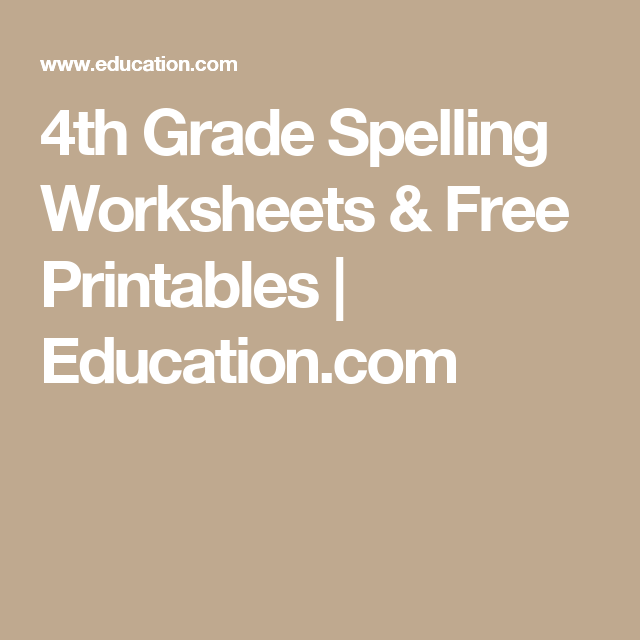 4th Grade Spelling Worksheets Free Printables Education