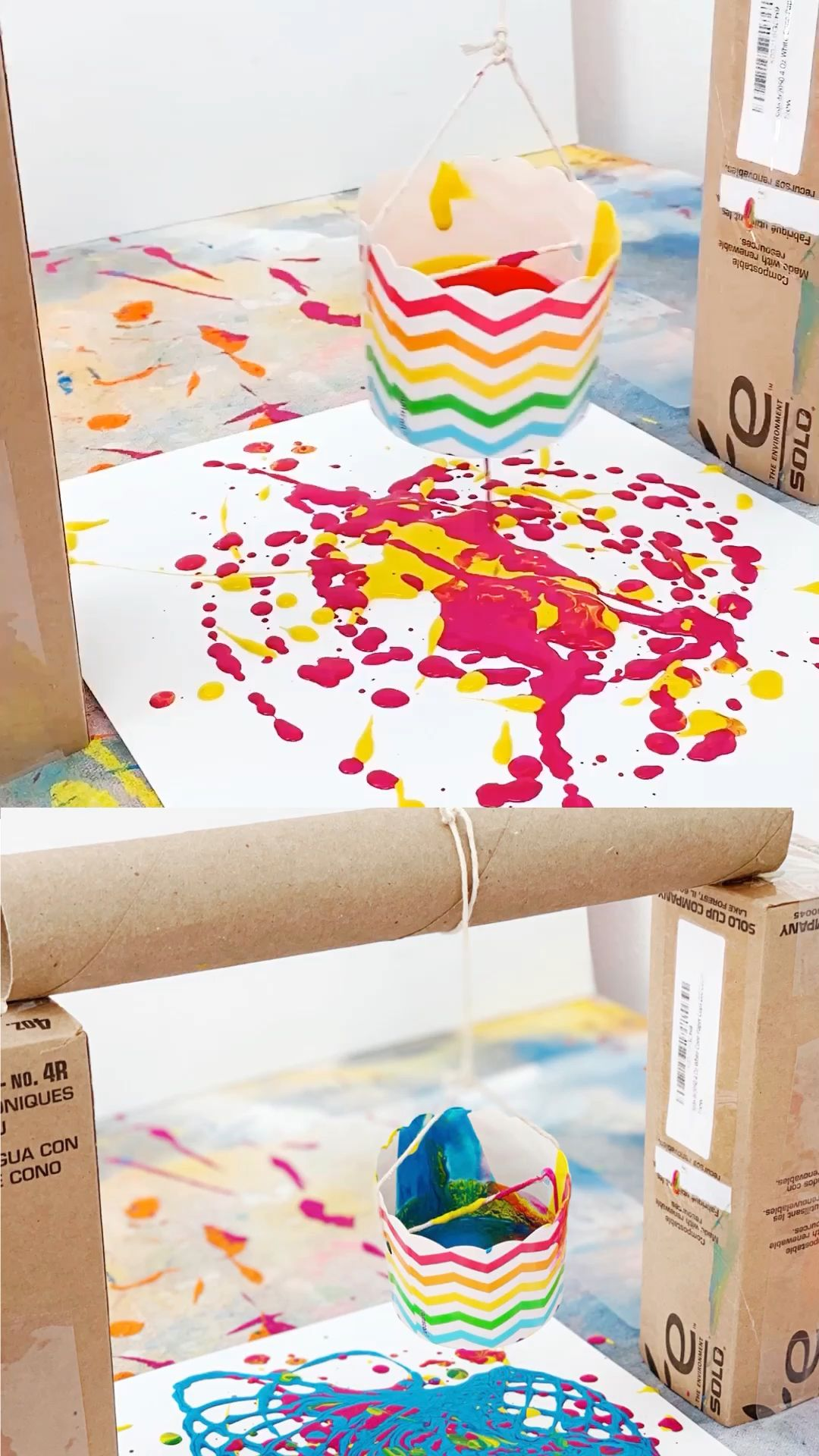 Find out how to make this fun pendulum painting with kids out of recycled materials! A great STEM or STEAM art, engineering project and craft painting activity for kids! #hellowonderful