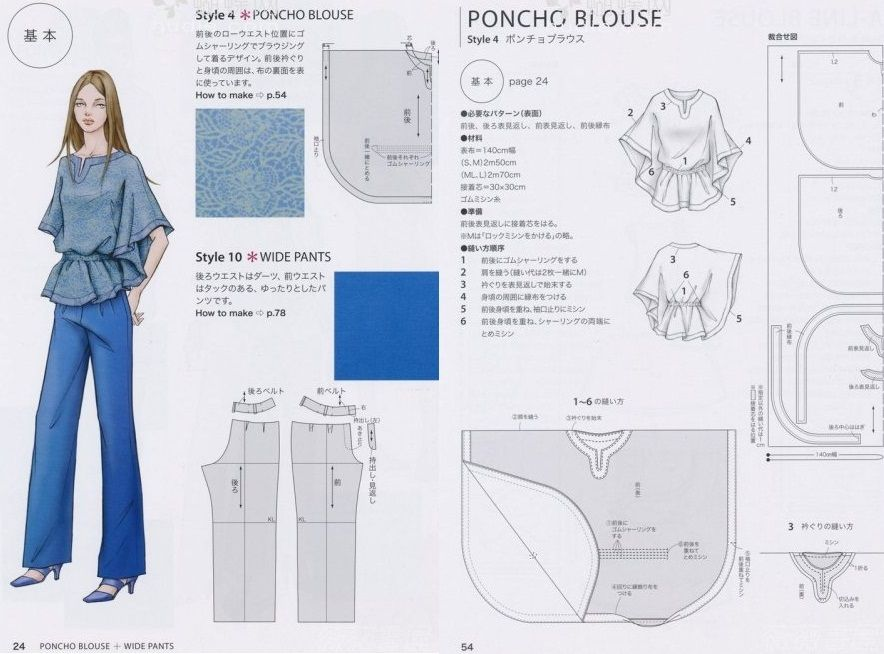 Sewing Poncho Blouse (3) | patronaje | Pinterest | Costura, Patrones ...