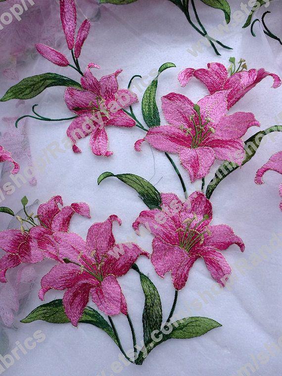 Lirio rosa organza boda vestido de encaje moda vestido encaje tela por la yarda