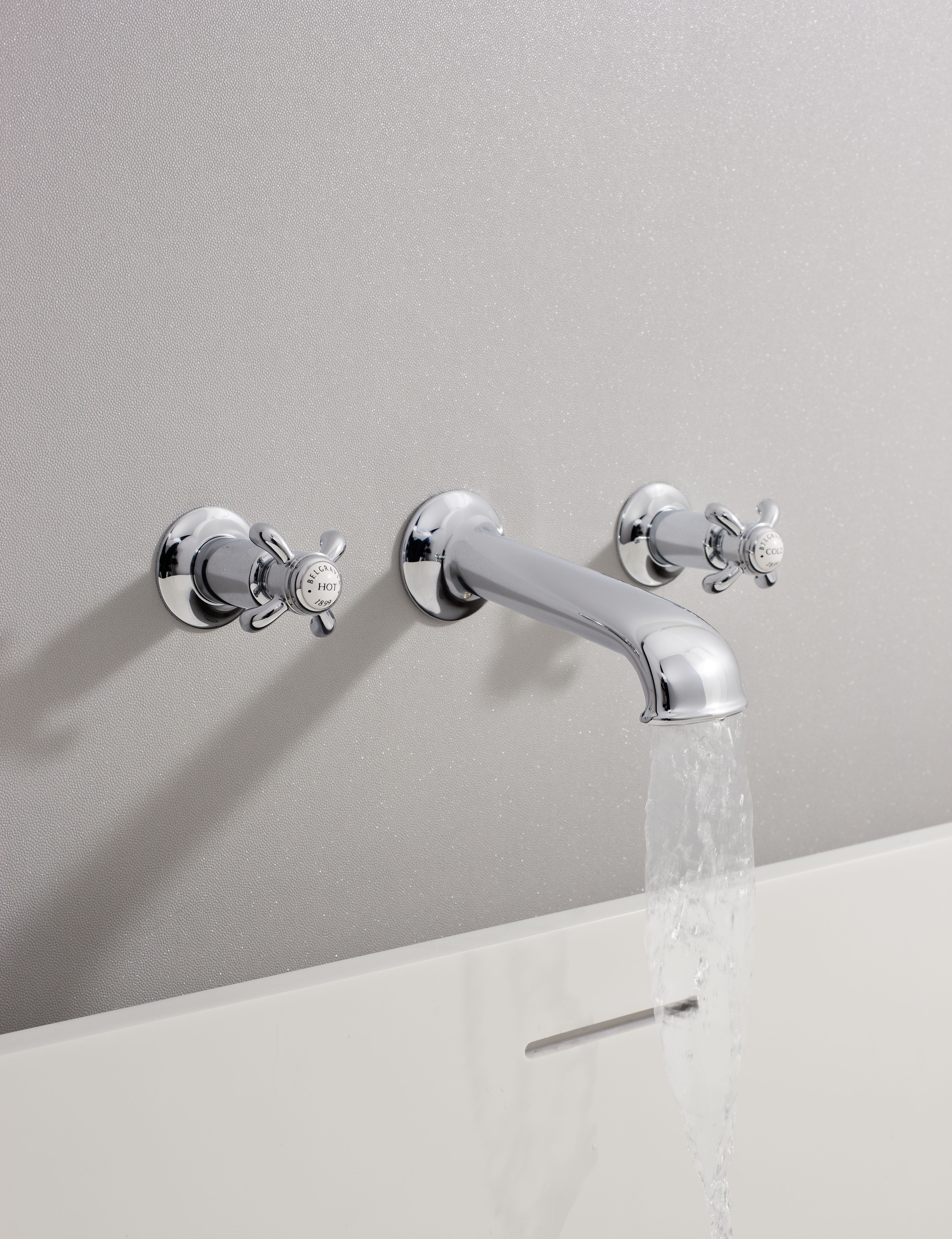 Belgravia Fleur De Lis Wall Mounted Bath Sprout With Wall Stop Taps From Crosswater Http Www Crosswater Co Uk Pr Traditional Bathroom Bathroom Taps Bath Taps