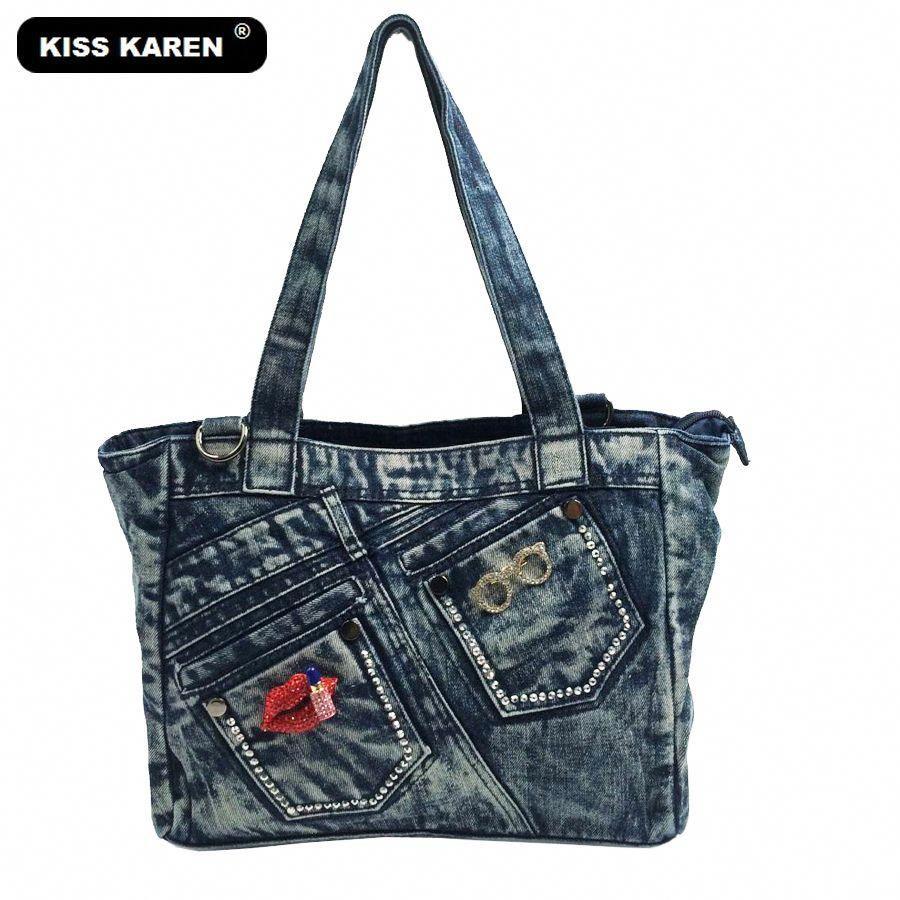 11500be5fdfd KISS KAREN Designer Denim Bag Fashion Casual Tote Jeans Bags Women Handbags  Female Tote Bag Stylish