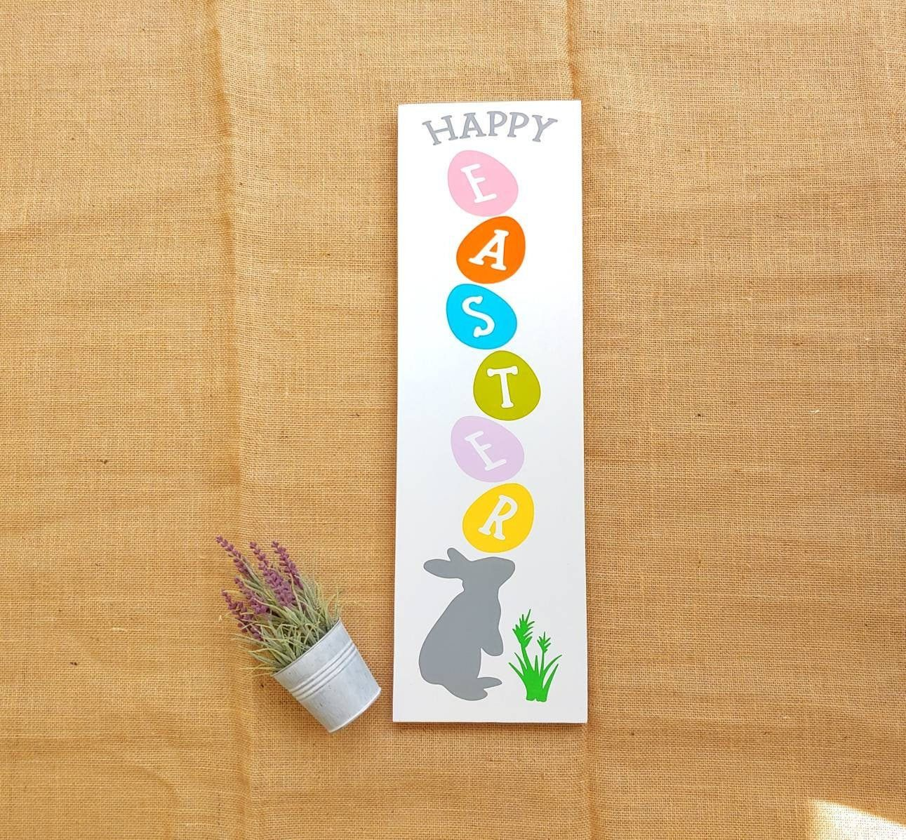 Happy Easter Egg Wood Sign Vertical Easter Bunny Sign Pastel Etsy Easter Wood Signs Wood Signs Spring Decor