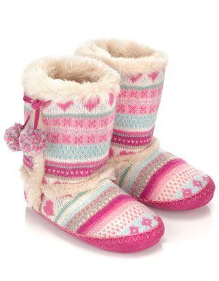 Heart Fairisle Slipper Boot | fashion | Pinterest | Slipper boots ...