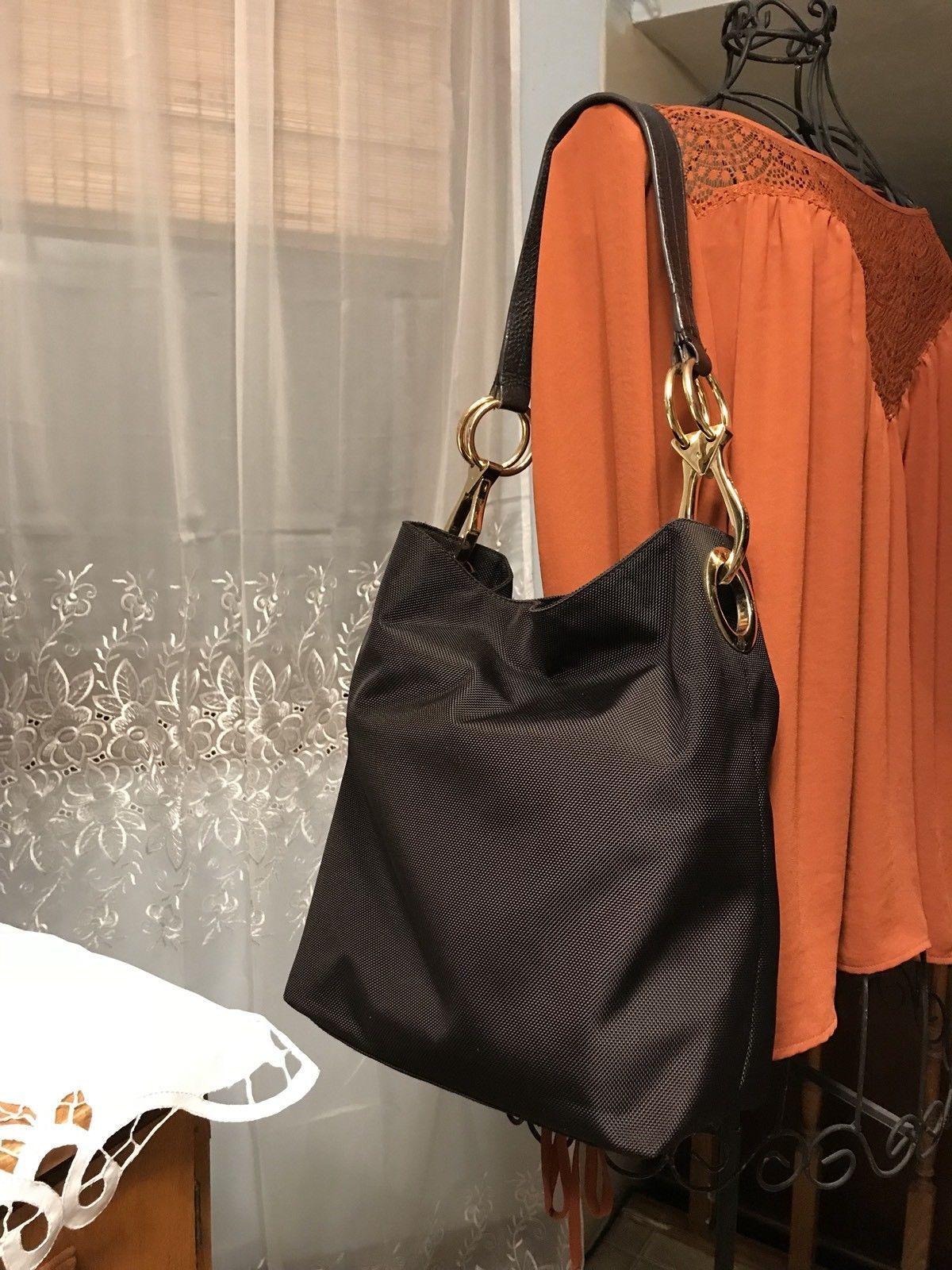 e96808c80063 JPK Paris 75 Nylon Hobo Bucket Tote Shoulder Bag Handbag - Dark Brown