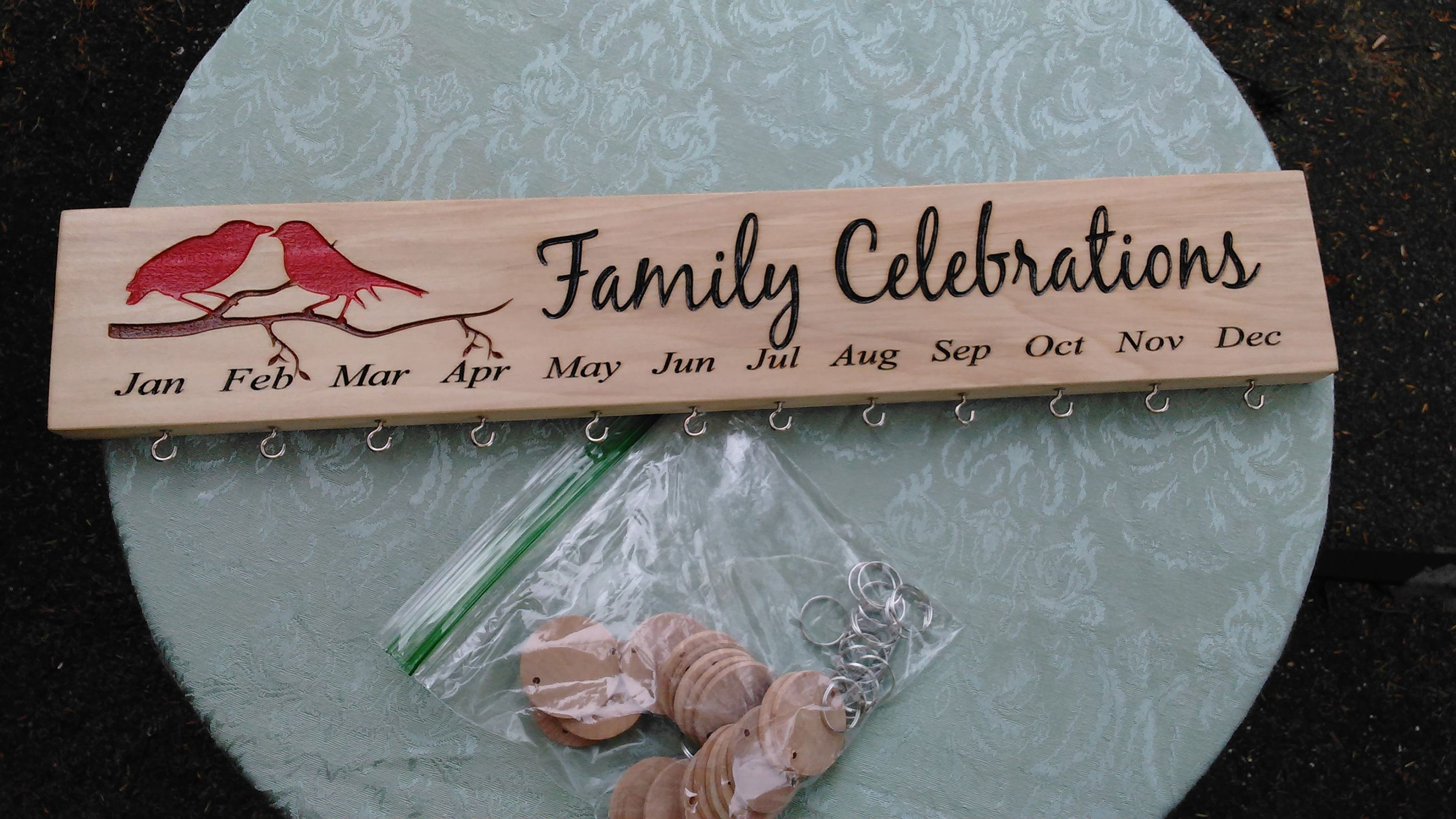 Free shipping wooden engraved family celebration board