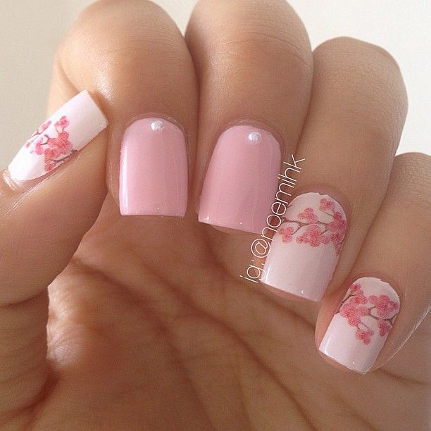 Cherry Blossoms Nail Art Soft Pink Pink And Black Or Brown Nailart Nails Nailpolish Cherry Blossom Nails Art Cherry Blossom Nails Flower Nails
