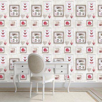 Muriva Live Laugh Love Frames Wallpaper Red Cream 131503