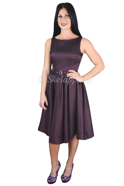 Us vintage style purple satin flare swing party dress
