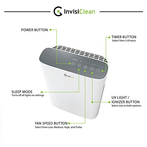 InvisiClean Aura Air Purifier with Carbon Pre Filter, True