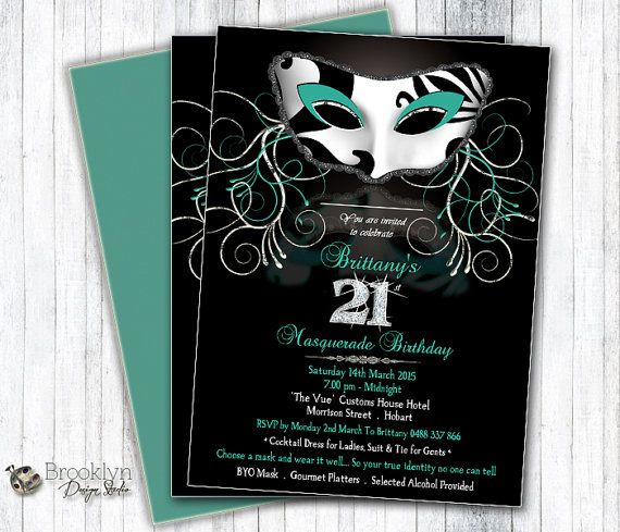 This is a custom masquerade or mardi gras party invitation with a damask mask design, with a black background ( can be changed) and the mask
