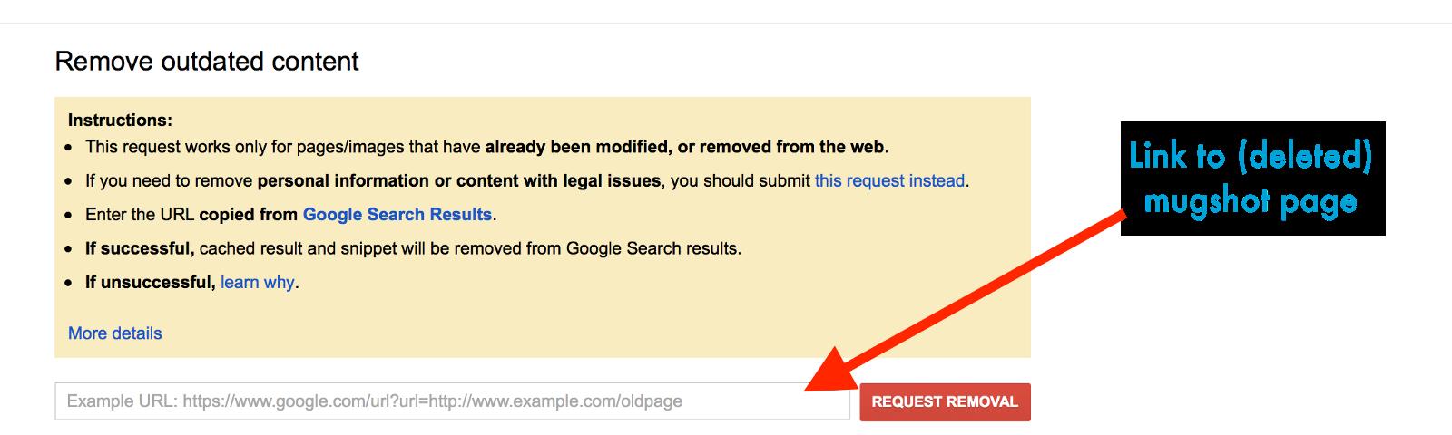 Deindex Mugshot Links on Google Search - How to Erase