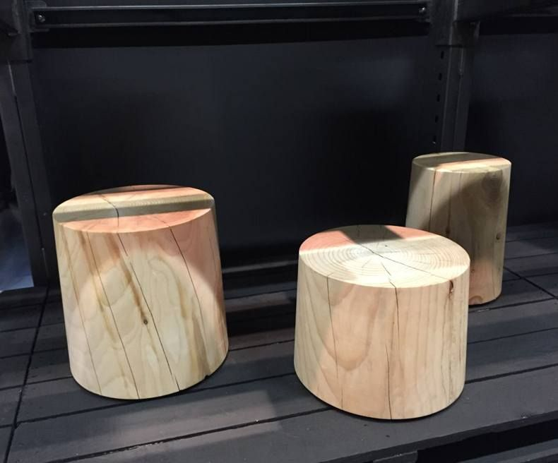 Solid Cedar Wood Stools By Terry Dwan