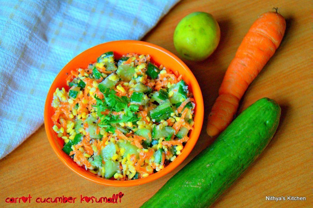awesome Carrot Cucumber Kosumalli Recipe Check more at http://www.foodiehalt.com/carrot-cucumber-kosumalli-recipe/