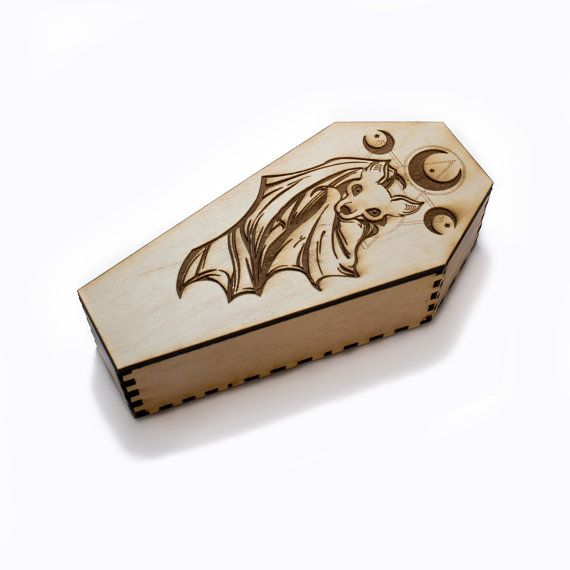 Coffin Cute Bat wooden halloween display jewelry box by Grimuaras