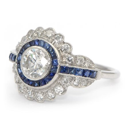 Vintage Sapphire And Diamond Enement Rings | Vintage Sapphire Diamond Ring Art Deco Wixon Jewelers