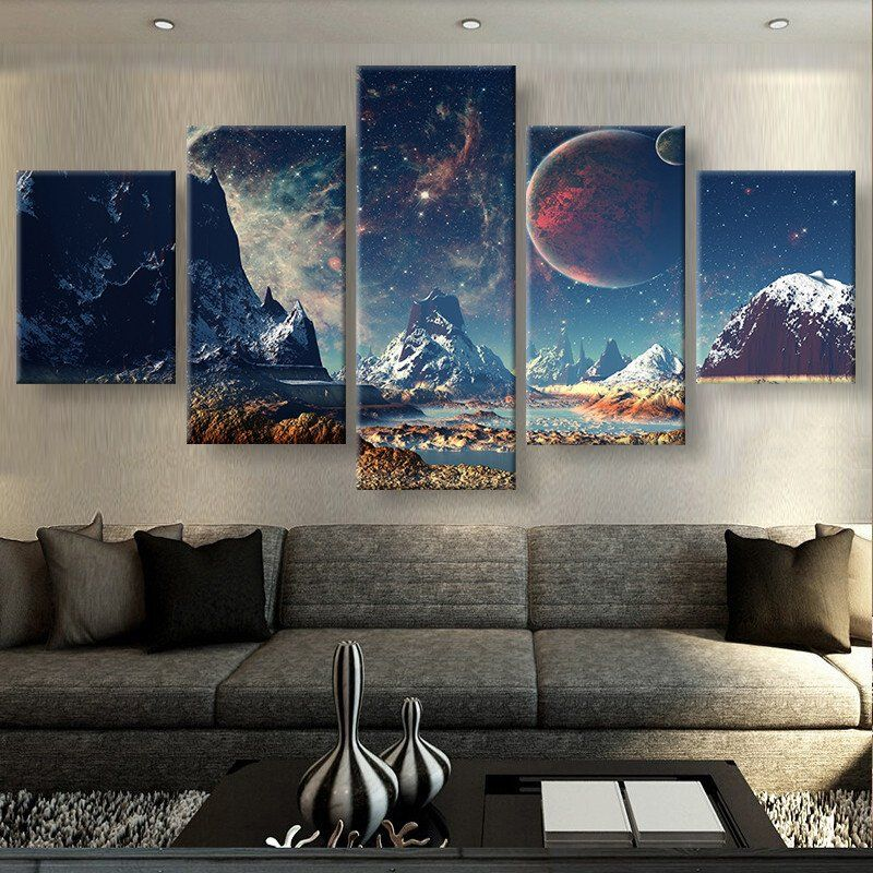 Mountains And Space Canvas Set Wall Art Living Room Customized Canvas Art Fantasy Wall Art
